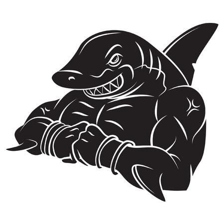 Shark Strong Mascot Tattoo Vector