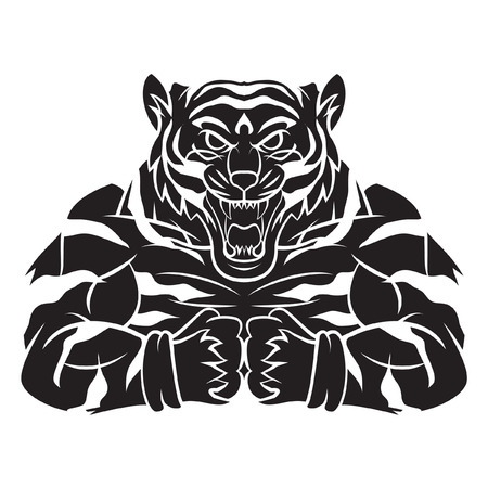Tiger Strong Mascot Tattoo Vector