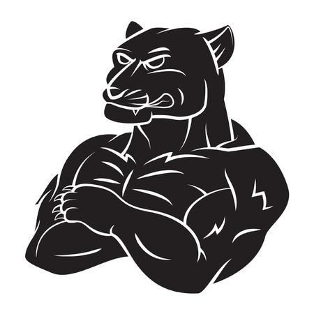 Panthère Tattoo Mascot Forte Banque d'images - 35967737