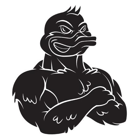 white duck: Duck Strong Mascot Tattoo