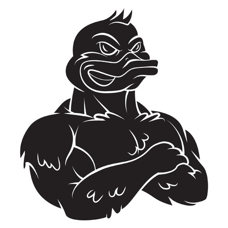 deportes caricatura: Pato tatuaje de la mascota del Fuerte