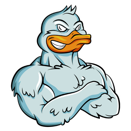Eend Sterke Mascot Stock Illustratie