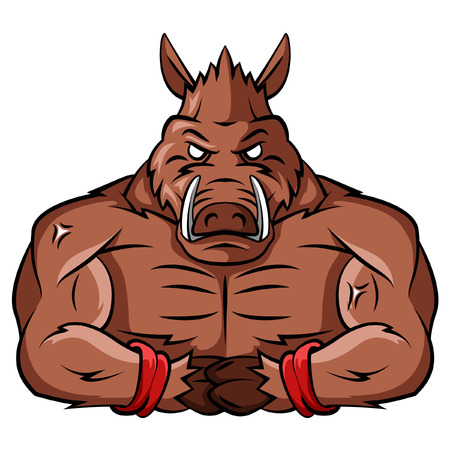 strong team: Wild Boar Strong Mascot