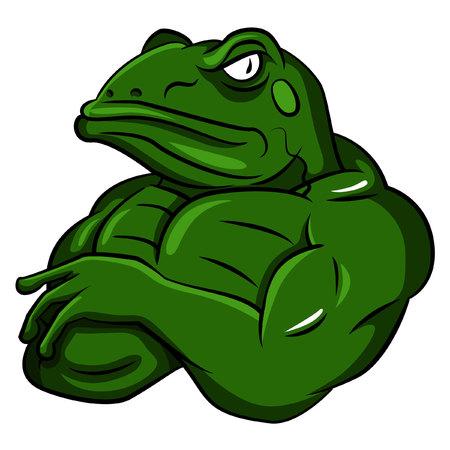개구리 강한 마스코트 일러스트