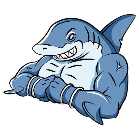 tiburon caricatura: Shark Fuerte Mascot