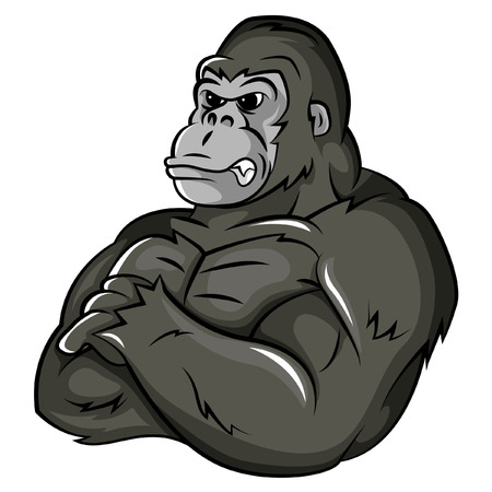Gorilla Strong Mascot Ilustração