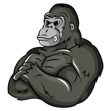 Gorilla Strong Mascot Ilustrace