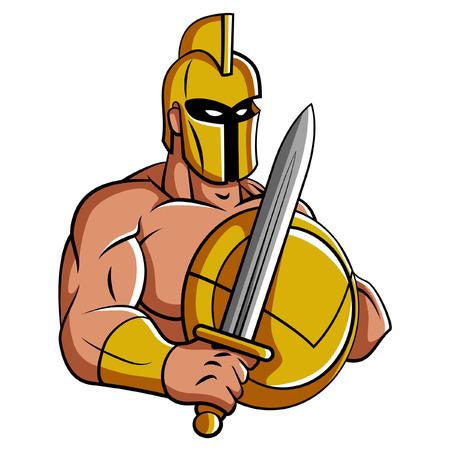 cascos romanos: Espartano de la mascota Vectores