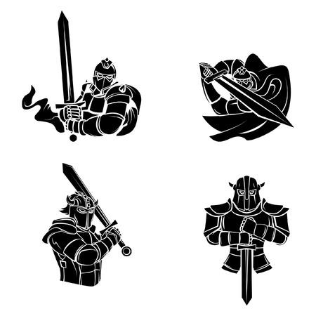 cavaliere medievale: Tatuaggio Simbolo Di Cavaliere Guerriero Vettoriali