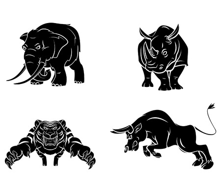 nashorn: Elefant, Nashorn, Tiger und Stier Tattoo Collection