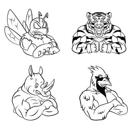 Bee,Tiger,Rhino and Bird Mascot Collection Vector