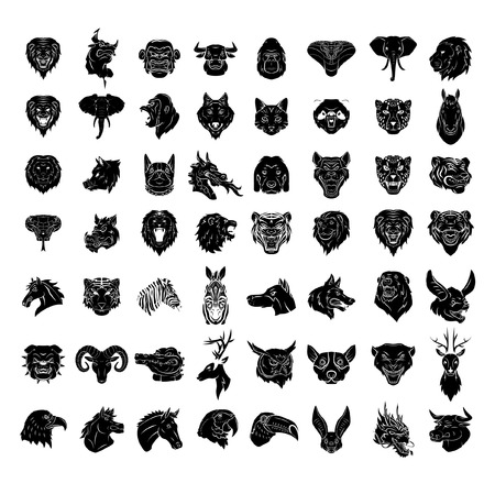 Animal Head Tattoo Big Set Collection Vector