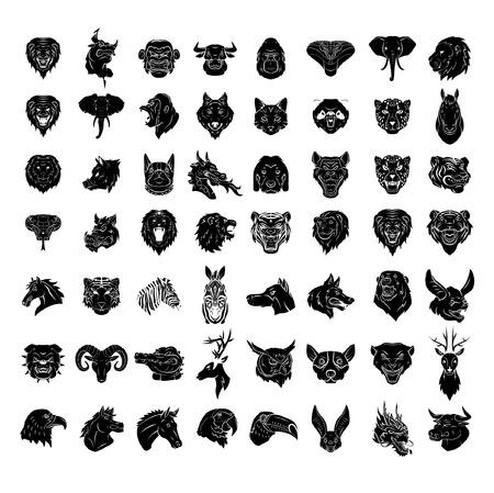 Collection Animal Head Tattoo Grote Reeks Stock Illustratie