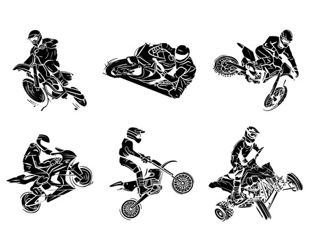 Motorbike tattoo Collection Vectores