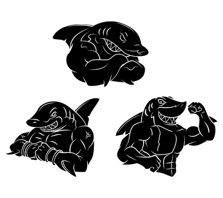 Shark Strong Black tattoo Vector