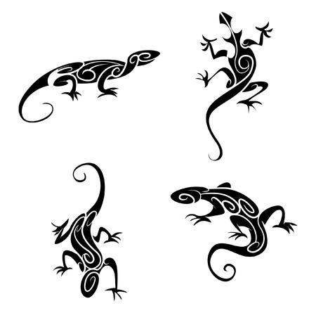 salamander: Lizard Tattoo Tribal Vettoriali