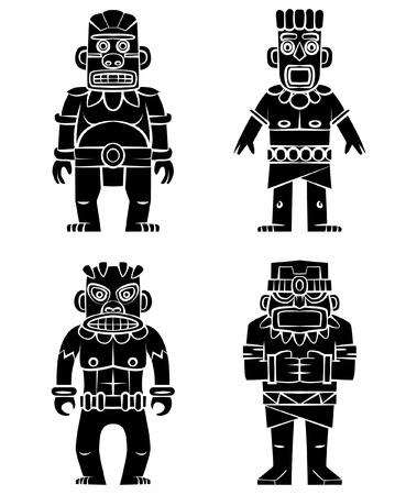 polynesian ethnicity: Tiki Statue Black Silhouette