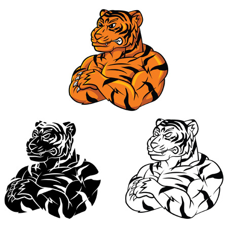 Coloring book Tiger Strong cartoon character Vector