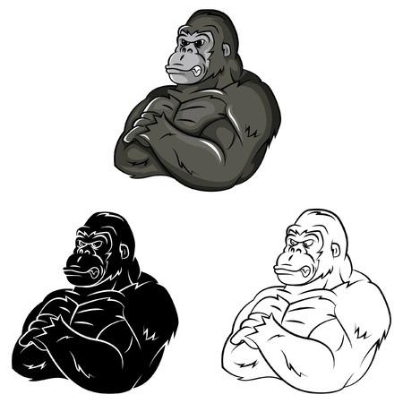 Livre à colorier personnage de dessin animé forte Gorilla Banque d'images - 37582065