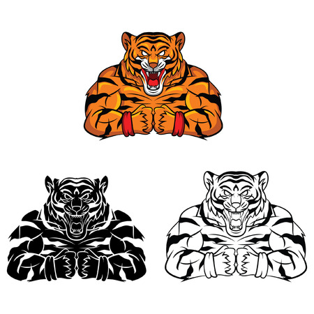 Coloring book Tiger Strong cartoon character Иллюстрация