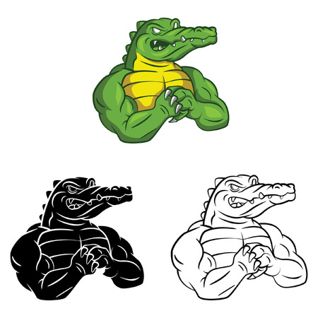 Coloring book Crocodile Strong cartoon character Vector
