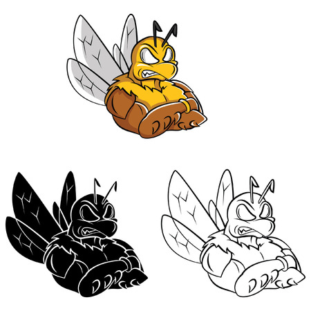 Coloring book Bee Strong cartoon character Vector