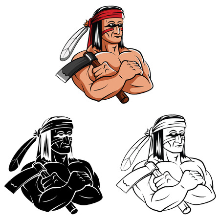 Coloring book Apache cartoon character Vector