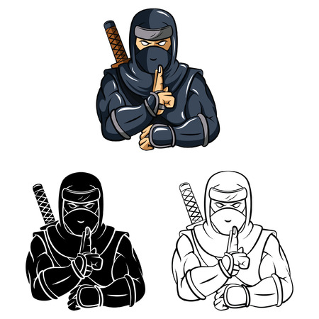 Coloring book Ninja cartoon character