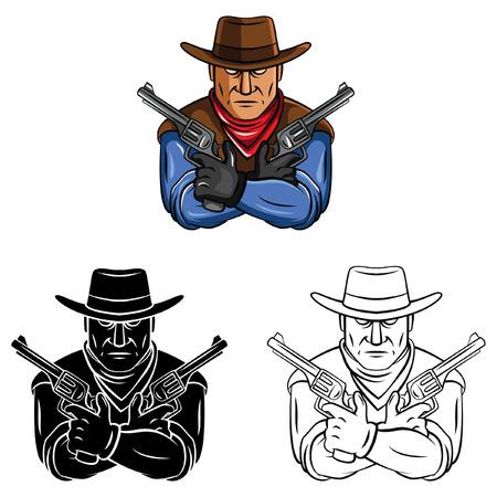 Coloring book Cowboy  cartoon character Vector