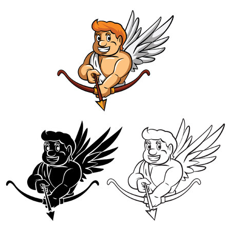 cupido: Coloring book Cupid cartoon character Illustration