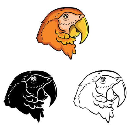 Coloring book Parrot cartoon character Vector
