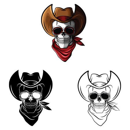 Coloring book  Skull Cowboy cartoon character - vector illustration  Vector