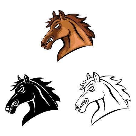 Coloring book Horse Head cartoon character - vector illustration .EPS10 Vector