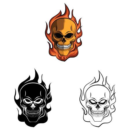 skull character: Coloring book Skull Fire cartoon character - vector illustration .EPS10 Illustration