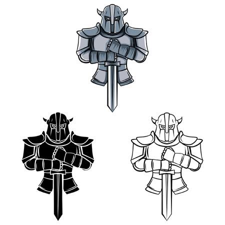 guerrero: Libro para colorear Caballero personaje de dibujos animados - ilustraci�n vectorial Vectores