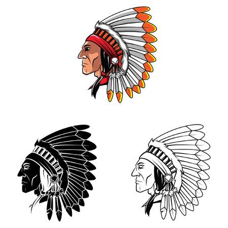apache: Coloring book Apache Head cartoon character - vector illustration
