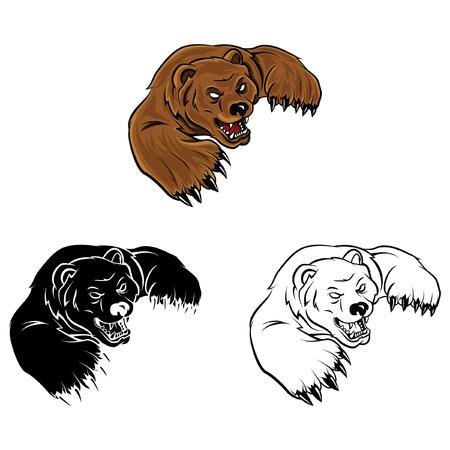 Coloring book Bear cartoon character - vector illustration Vector