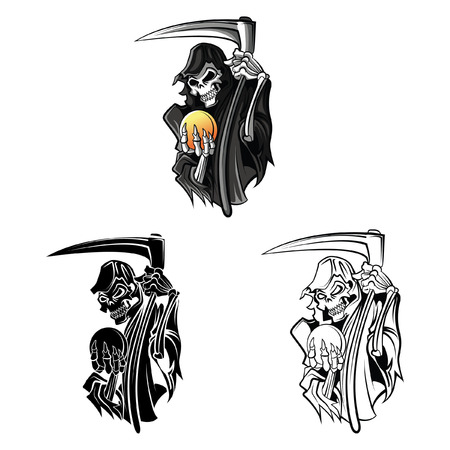 Coloring book Grim Reaper cartoon character - vector illustration