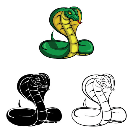 Coloring book cobra cartoon character - vector illustration