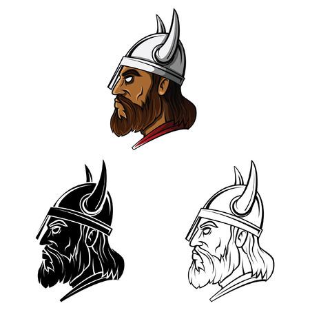 vikingo: Libro para colorear cabeza guerrero vikingo personaje de dibujos animados - ilustraci�n vectorial
