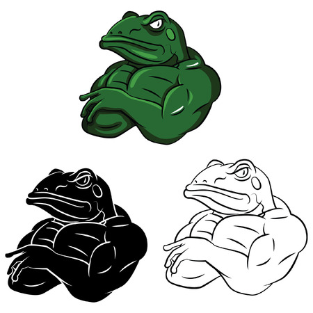 Coloring book Frog Strong cartoon characte