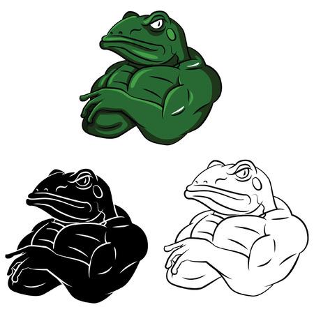 Coloring book Frog Strong cartoon characte