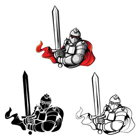 espadas medievales: Libro para colorear Caballero Guerrero personaje de dibujos animados - ilustraci�n vectorial