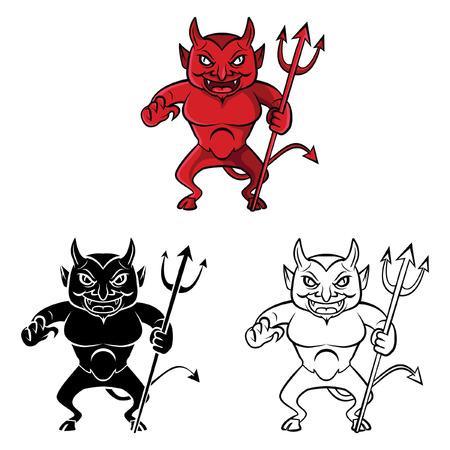 diavoli: Coloring book personaggio diavolo fumetto - illustrazione vettoriale .EPS10 Vettoriali