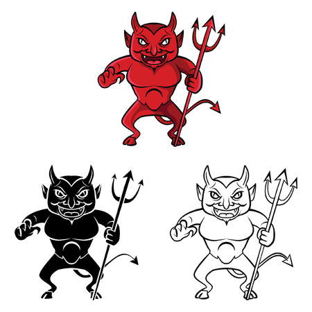 Coloring book devil cartoon character - vector illustration .EPS10