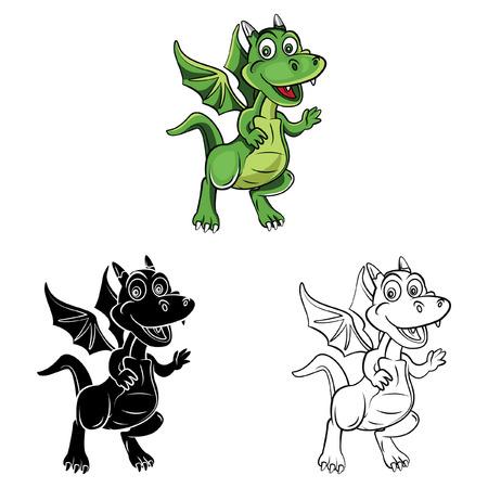 dinosaurio caricatura: Libro para colorear dibujos animados drag�n ni�os - ilustraci�n vectorial .EPS10