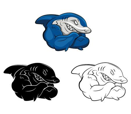 tiburon caricatura: Libro para colorear dibujos animados Shark - ilustraci�n vectorial .EPS10