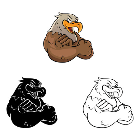 Coloring book Eagle Mascot cartoon character - vector illustration