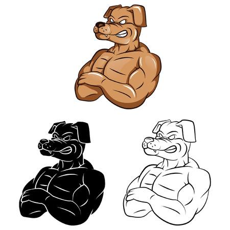 Coloring book Dog Strong Mascot cartoon character - vector illustration  Vector