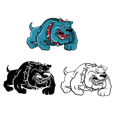 Coloring book Bull Dog cartoon character - vector illustration